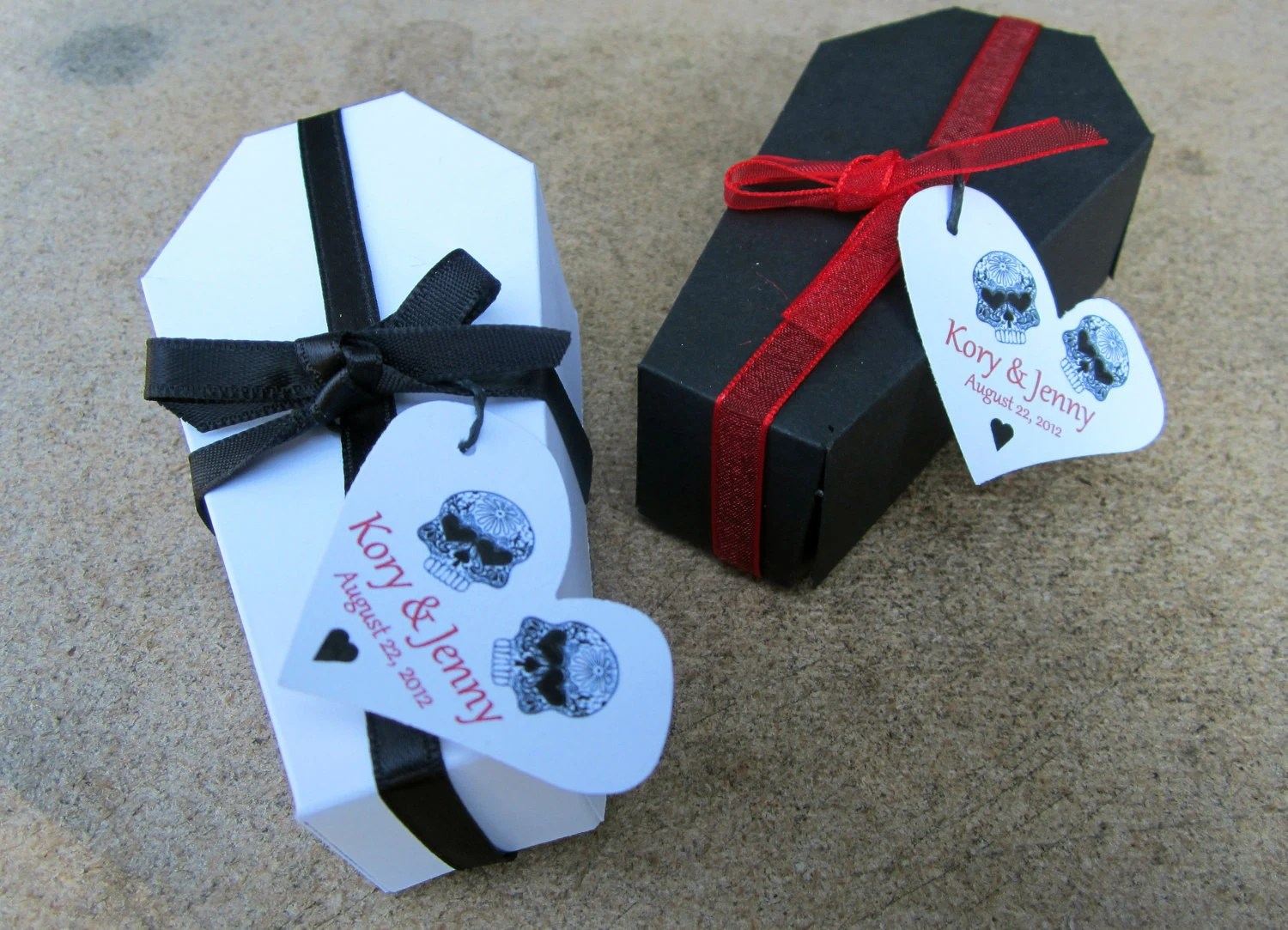 PERSONALIZED Gothic Wedding Coffin Favor Box By