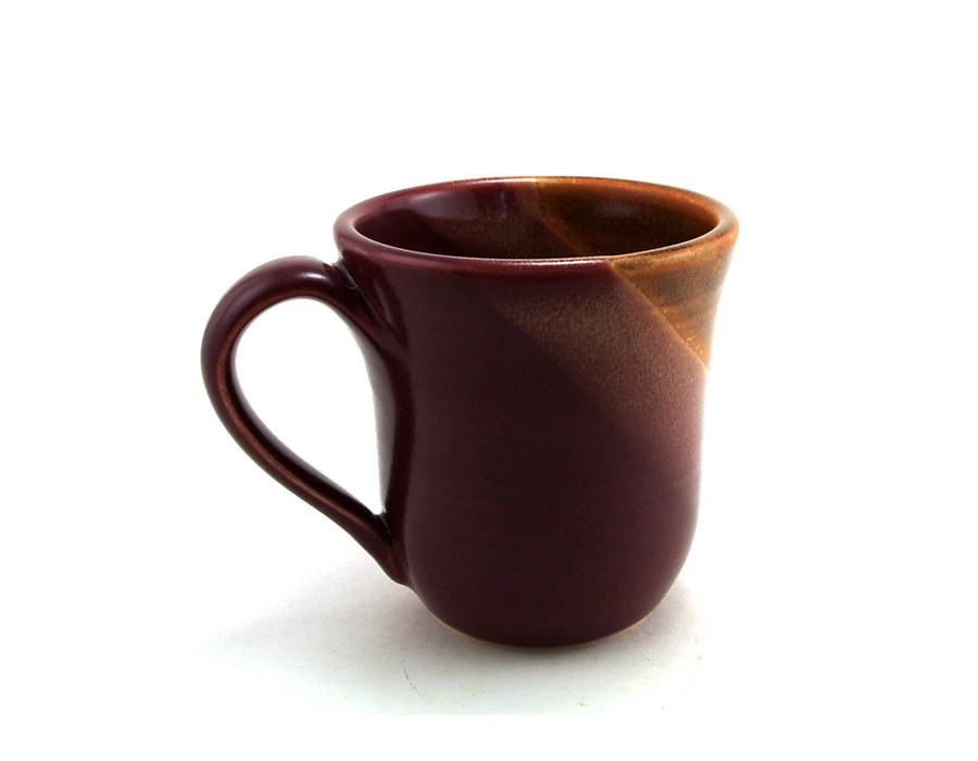 Red and Brown Mug:  Ceramic Wheel Thrown Mug for Coffee or Tea by Miri Hardy Pottery - MiriHardyPottery