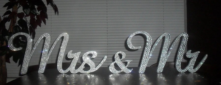 Gorgeous Bling Mr & Mrs. Sign Wedding Reception Cake Table