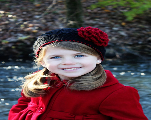 Black and Red Crochet Girls Beanie - Baby Toddler Children - KerensHatBoxBoutique