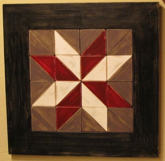 Rustic Star Wooden Quilt Square Wall Hanging