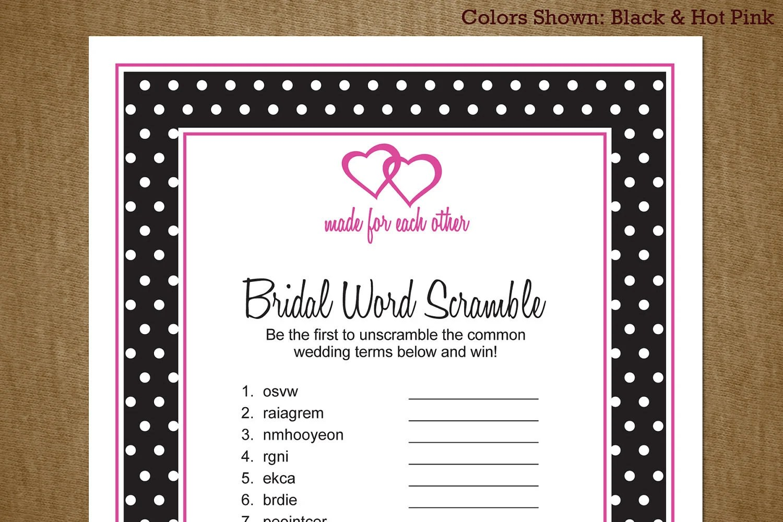 Bridal Shower Printable Game Word Scramble By