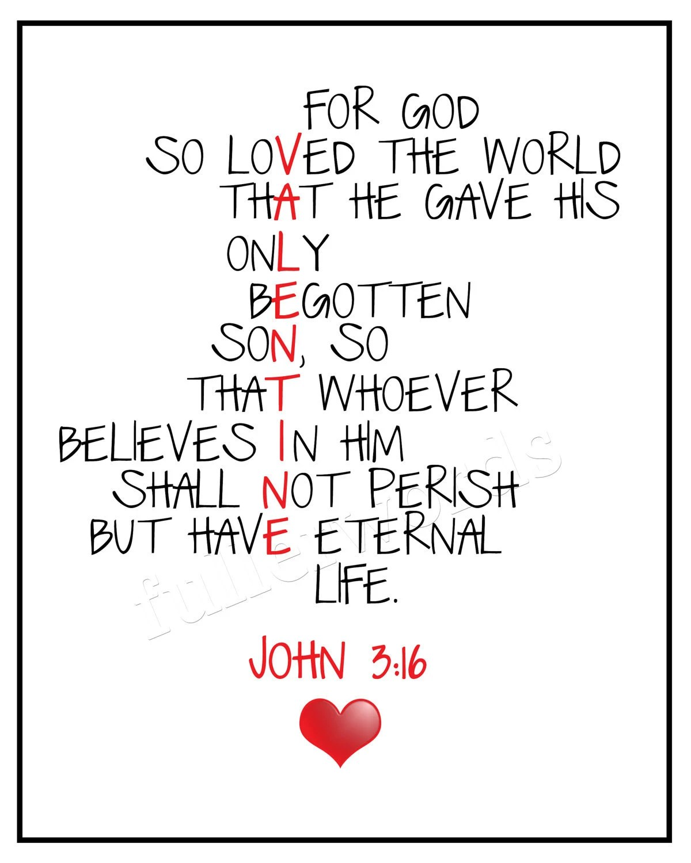 John 3 16 Bible Verse 8x10 Valentines Digital By Fullerwords