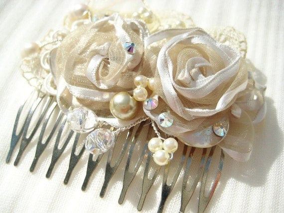 Items Similar To Bridal Hair Comb Cream Bridal Clip
