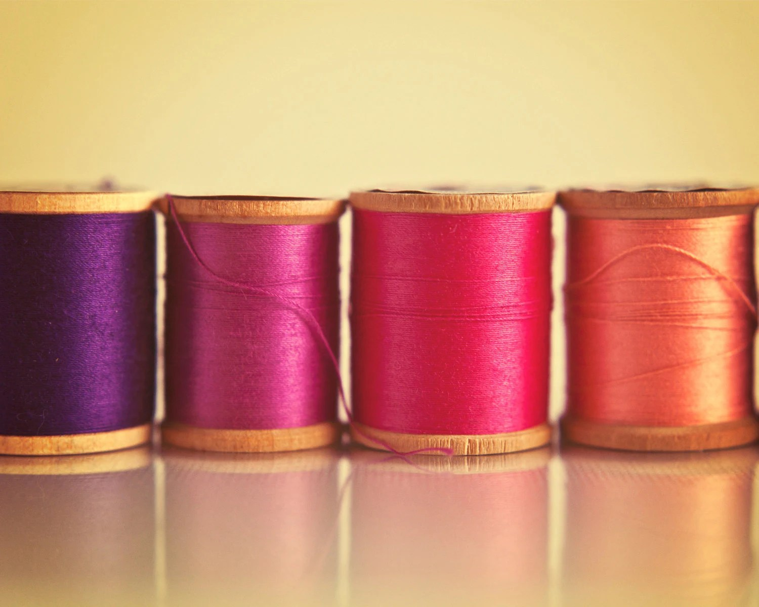 Sewing Thread Photography - 8x10 - Vintage Wooden Spools - Metallic Fine Art Print - Pink Orange Purple - Craft Room or Office - Colorful - GardenBlues
