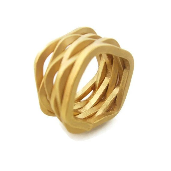 18K Gold Woven Ring Wide Band, Fashion Gold Ring, Statement Ring, Chunky Ring - sheriberyl