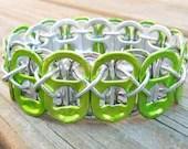 Key Lime and Silver Soda Pop Tab Bracelet - beforethelandfill