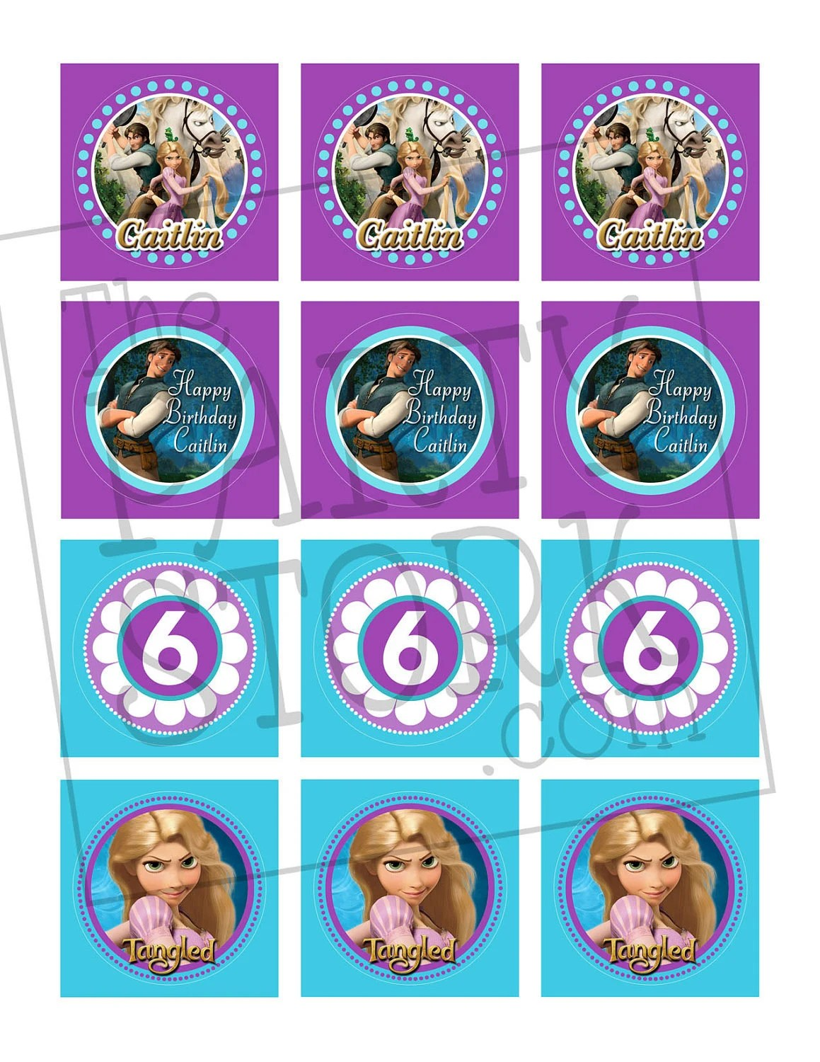 Items Similar To Tangled Cupcake Toppers Printable Birthday Party Favor Rapunzel Matching