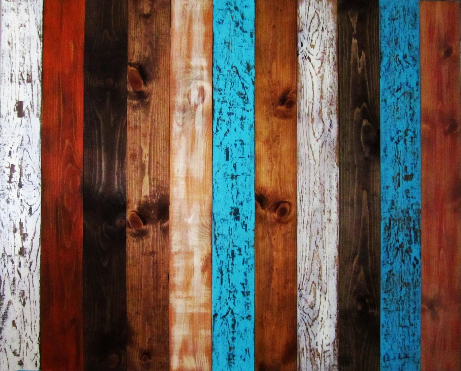Queen Rustic Headboard Multi Colored With Stained Wood