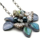 Blue and Gray Flower Necklace, Blue and Gray Leaf Necklace, Blue Flower Pendant Necklace,  Nature Jewelry, Christmas Gift Idea For Her