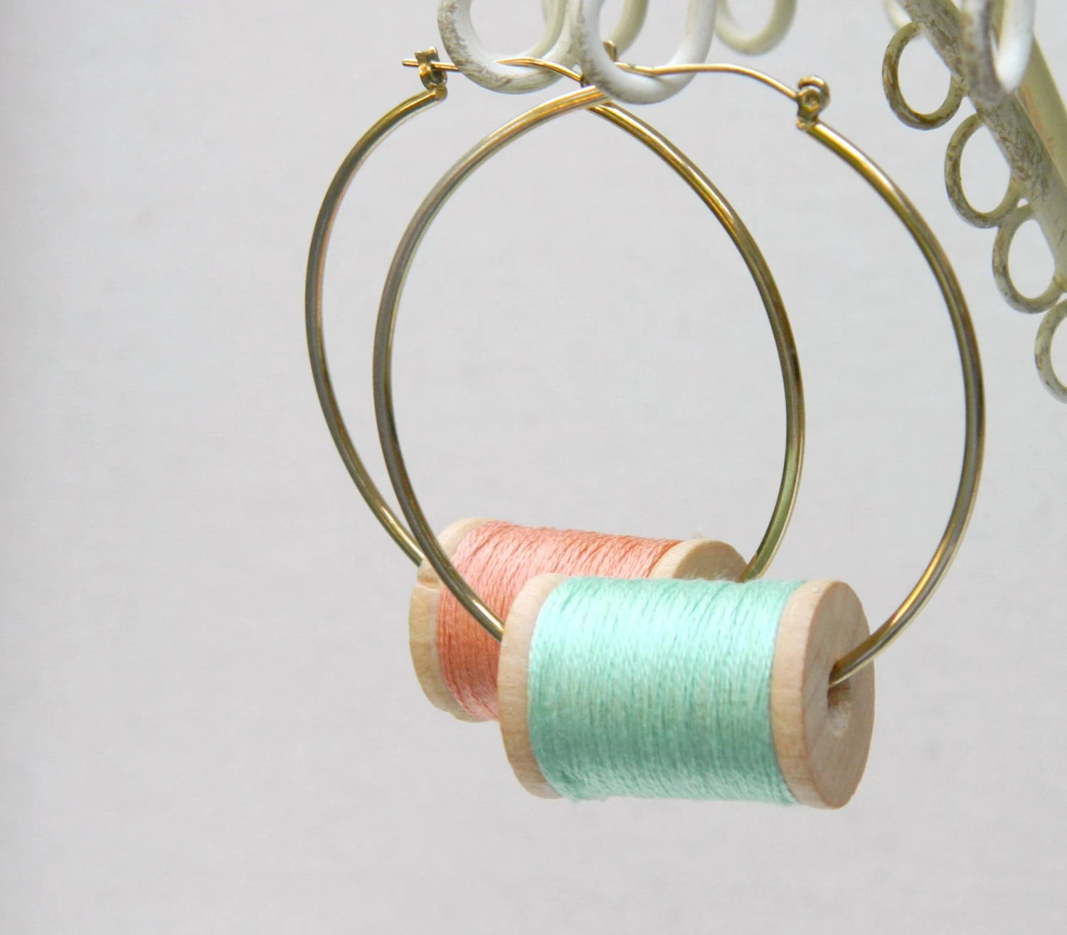 Green Mint Peach Pastel Large Hoops Wooden Spool Earrings with Thread - arthandmadejewelry