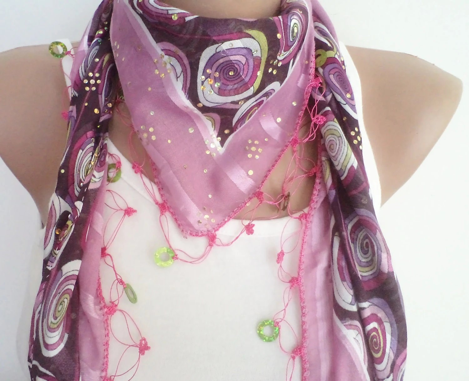 women accsesories, women scarf, beaded lace, pink and purple triangle scarf,stylish accessory,thin scarf, women fashion - BloomedFlower