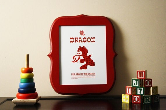 Chinese Zodiac Year of the Dragon Kids and Baby Wall Art Poster Print