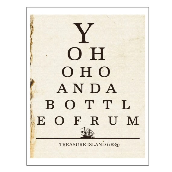 Yo Ho Ho Bottle of Rum, Pirate Art, Eye Chart Print, Kitchen Wall Art, Dorm, Bar Decor, Literature Poster, Quote Print, Gifts Under 25, 8x10 - JaneAndCompanyDesign