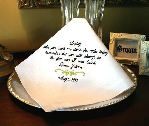 Father of The Bride Handkerchief -Hankie - Hanky - As you walk me down the aisle today - Gift for Father of the Bride - Wedding