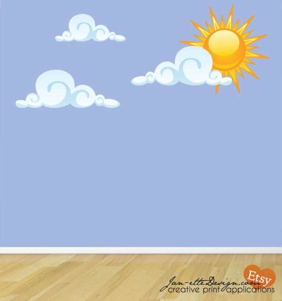 Sun and Clouds Fabric Wall Decal Set - JanetteDesign