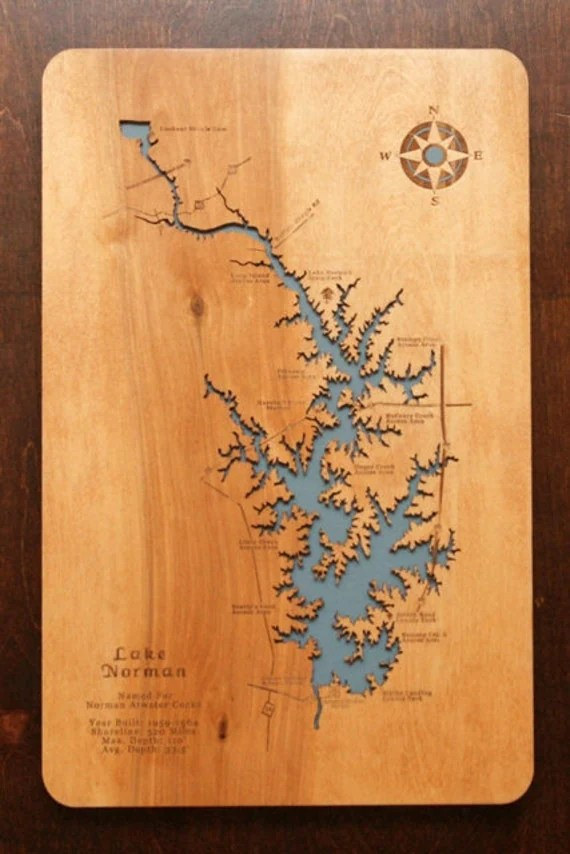 Items Similar To Lake Norman North Carolina Wooden Laser