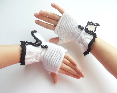 Romantic white fingerless gloves, mittens-mother's Day gift - fatoss