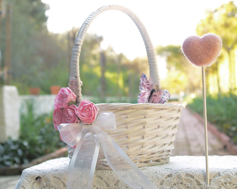 Flower Girl Wedding Basket Shabby Chic By FairyfolkWeddings