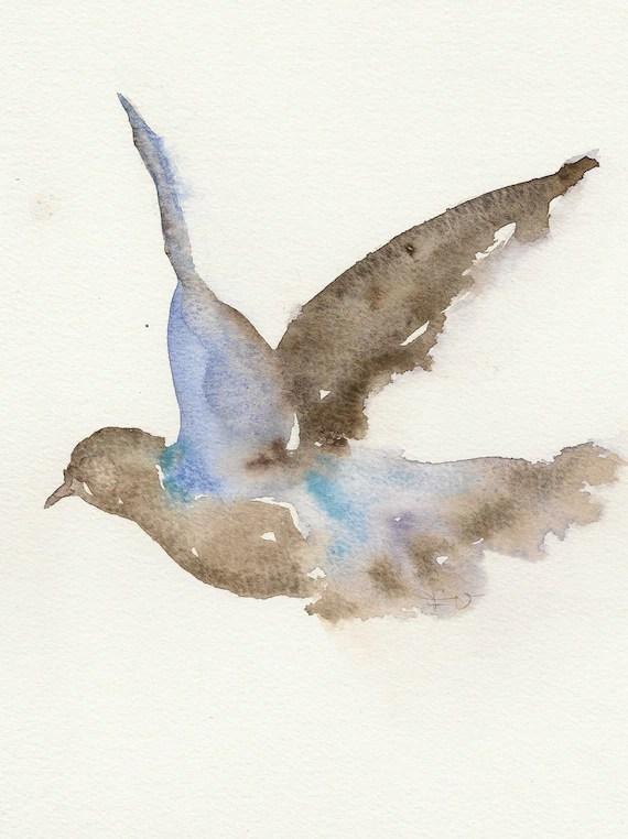 Flying Dove Original Watercolor Painting Animal Art Pigeon