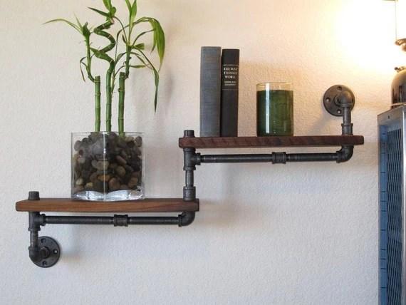 Industrial Plumbing Pipe Shelf - Double Walnut