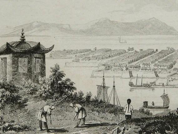 1837 Antique engraving: VIEW of HANGZHOU, CHINA, Yangtze River, Zhejiang. 176 years old copper engraving
