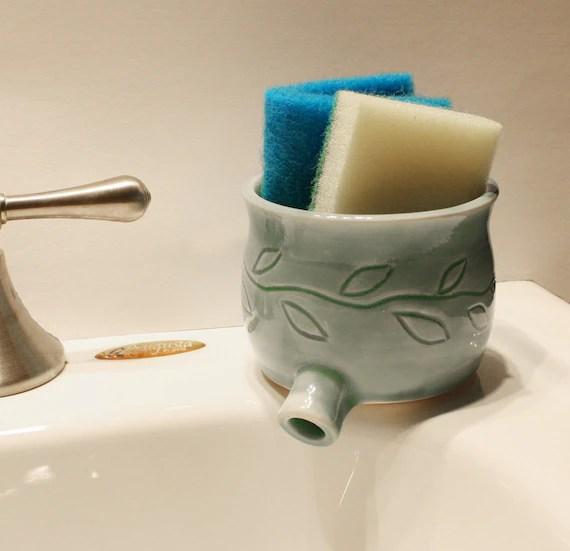 Sink Pot For Draining Scrubbies Celadon Green W Carved Leaf