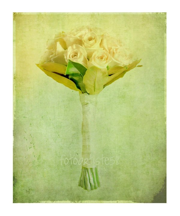"Photo Art Print, bunch of pink roses, bouquet of lime green flowers, pastel textured floral wall decor, 12""x10"" - FotoArtiste58"
