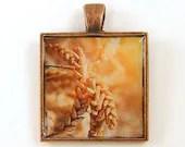 Wheat Pendant - Golden Copper Nature Photo Fall Color Resin Pendant - BeautifulByCharlene