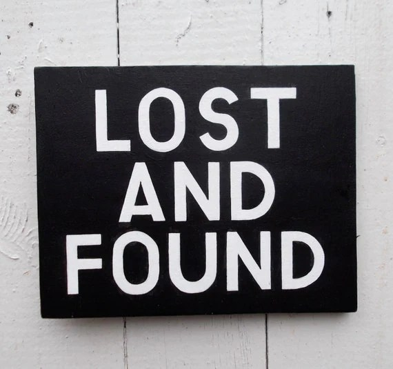 LOST AND FOUND Hand Painted Sign on Wood