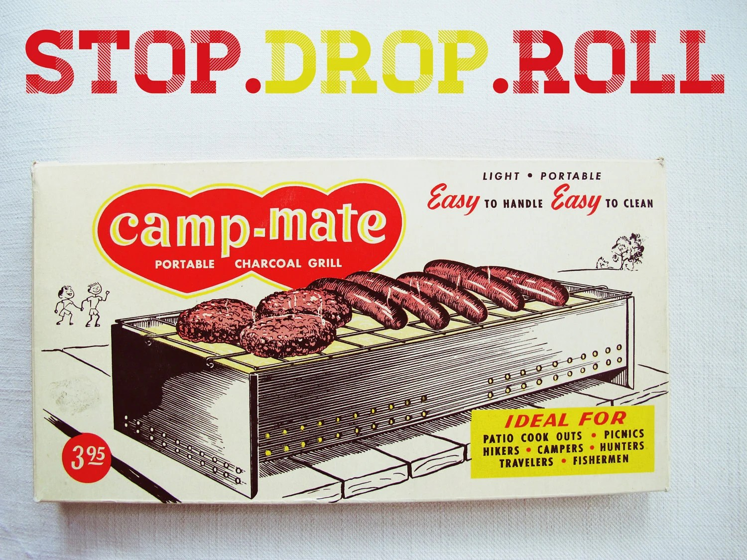 stop.drop.roll - vintage camping portable grill - camp mate, picnic, bbq, industrial - suburbancampsupply