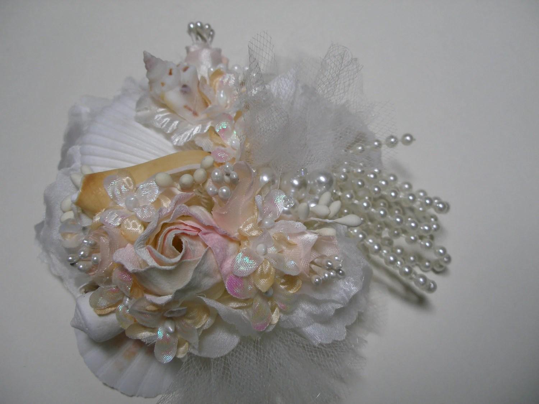 BEACH Wedding Hair Accessories Unique Bridal Ivory Piece