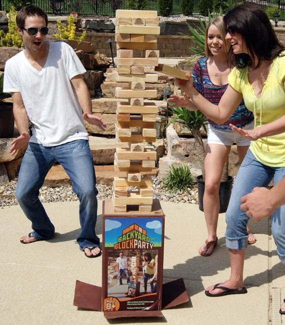 Backyard Block Party - Outdoor Game - HUGE version of the wood block game you play inside