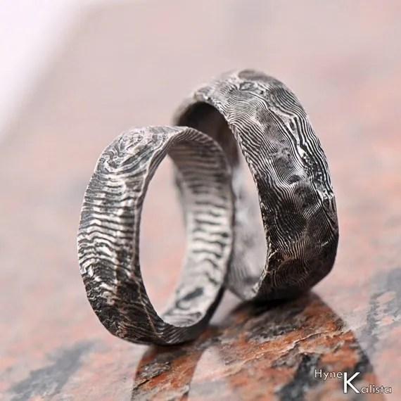 Custom Wedding Ring Stainless Damascus Steel Mens Ring