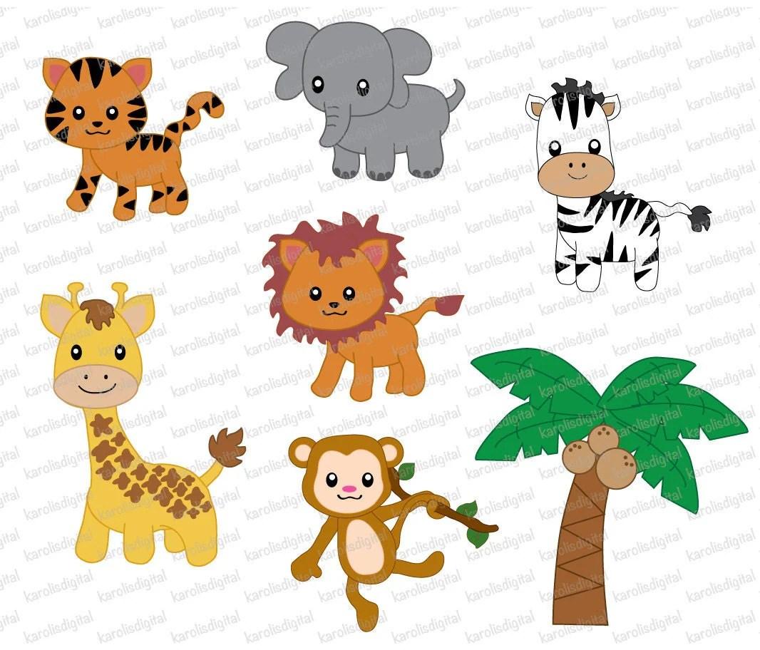 Jungle Animals 7 Digital Clip Art Set