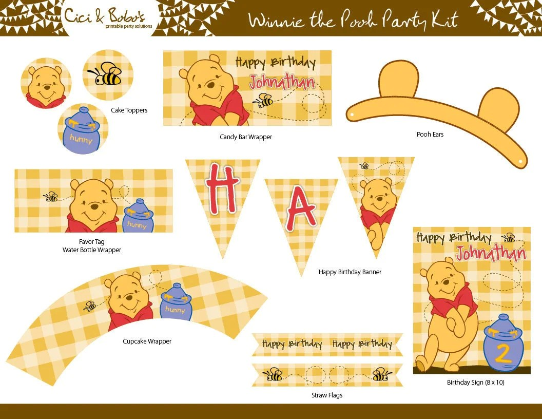 Winnie The Pooh Birthday Party Printable Set By Ciciandbobos