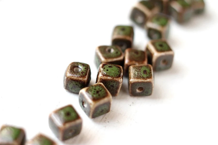 10pcs Dark Olive Green and Brown Color Ceramic Cubes, Square Center Drilled Beads 8x8mm - StarJuice