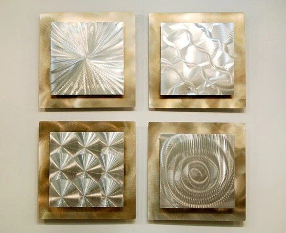 SALE Silver & Gold Modern Metal Wall Sculpture By