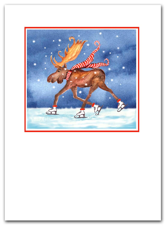 Skating Moose Christmas Cards Set Of 10 Boxed Set Greeted
