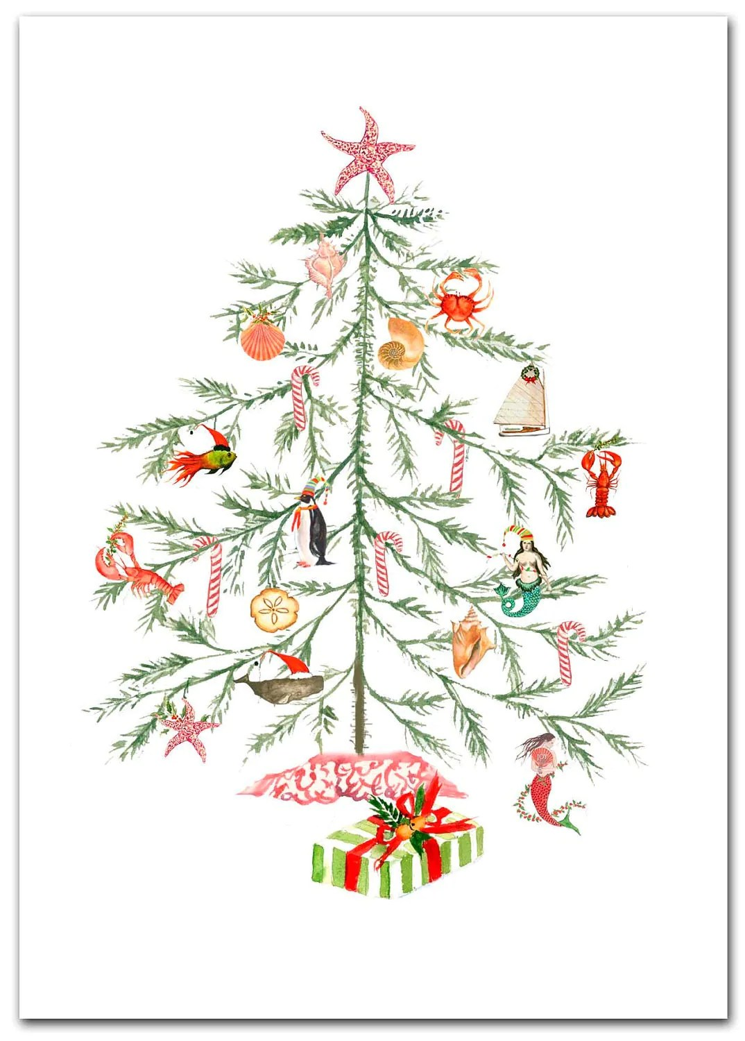 Christmas Nautical Tree Cards Original Artwork 10 Per Boxed