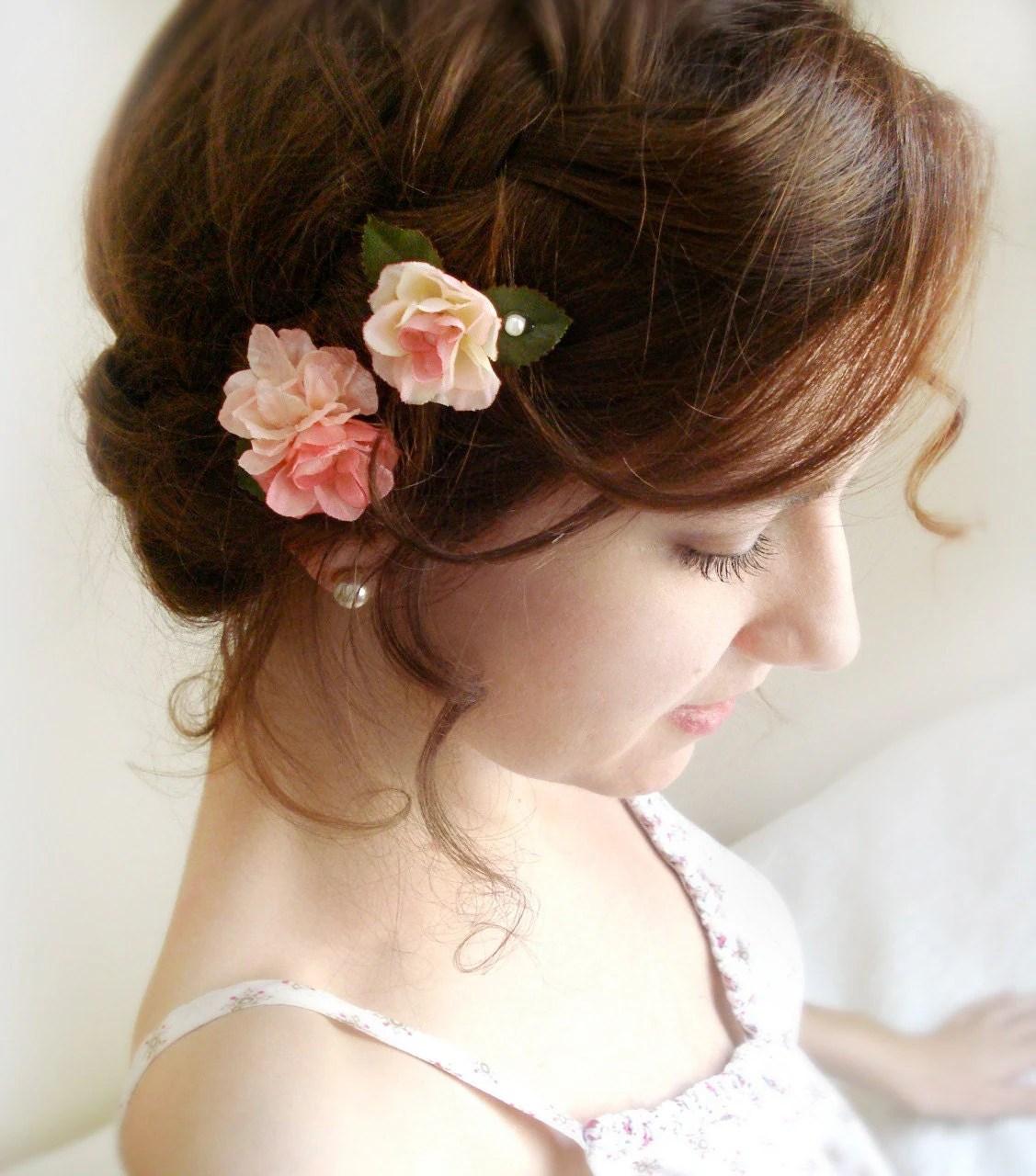 Peach Pink Flower Hair Pins Blush Pink Flower Bridal Hair