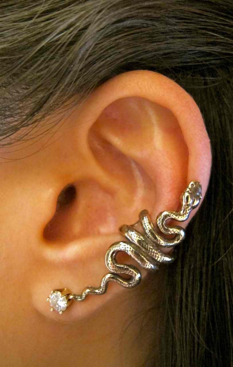 Snake Ear Cuff Bronze Snake Ear Wrap Snake Jewelry By