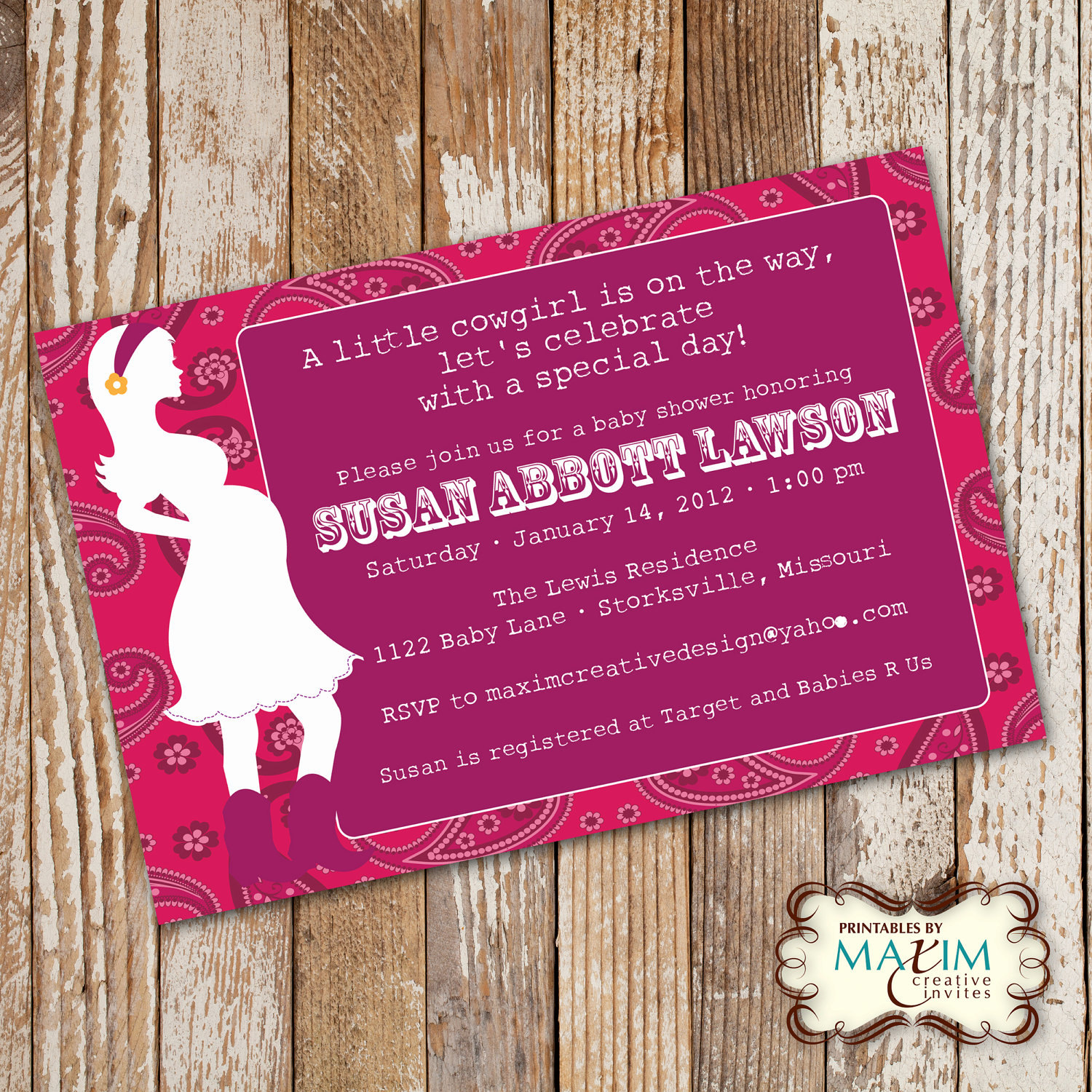 Baby Shower Invitation, Party Invitation, Cowgirl Baby Shower, Cowboy