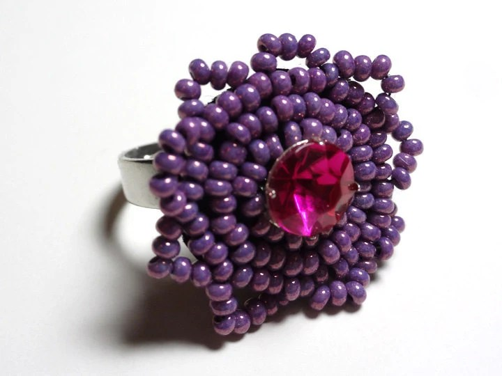 Beaded RIng in Pink and Purple Hand Bead Embroided Adjustable Cocktail Fashion Accessory - MegansBeadedDesigns
