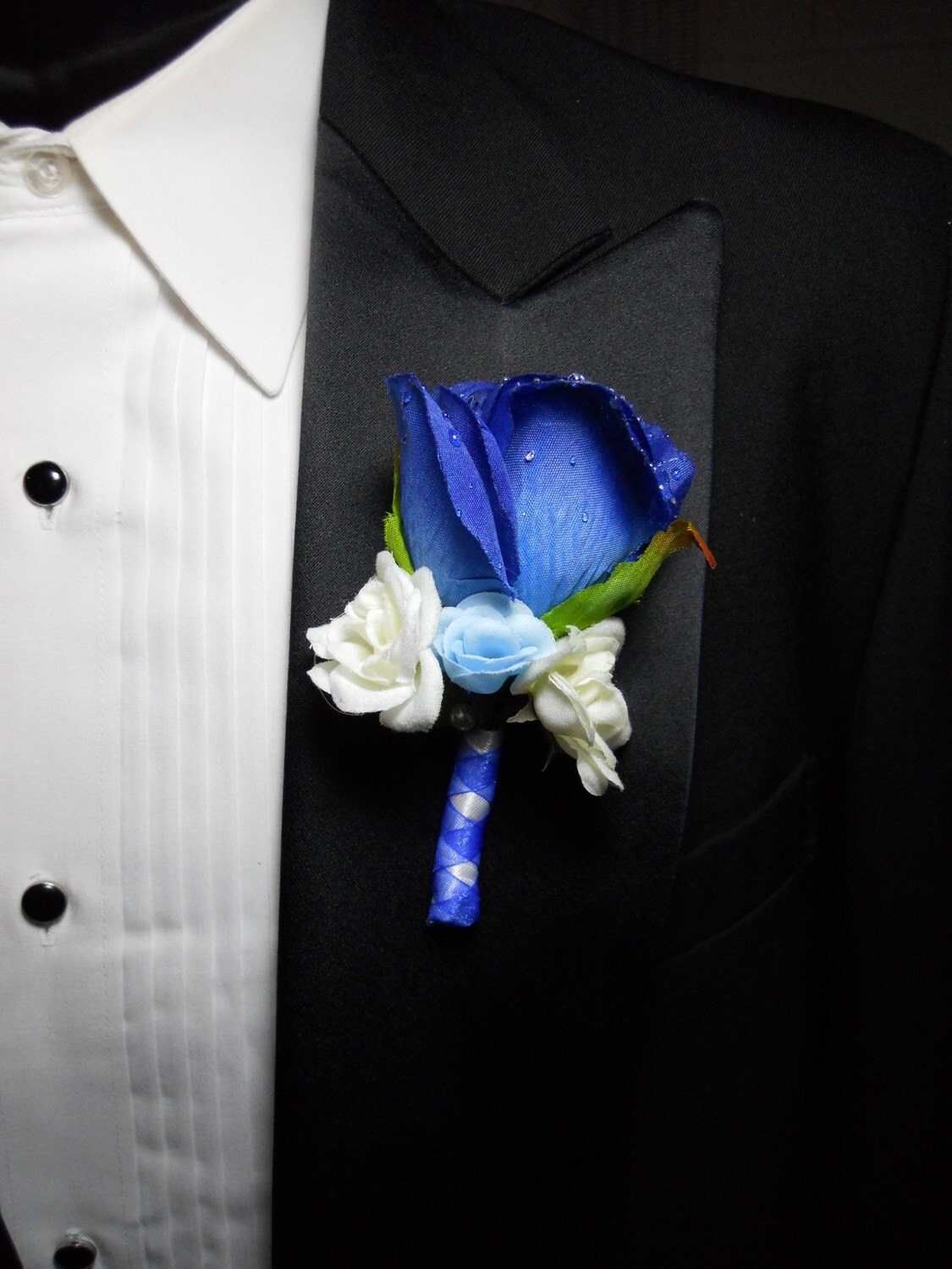 Blue Wedding Bouquets Boutonnieres Hair By PieceByPeaceArtwork