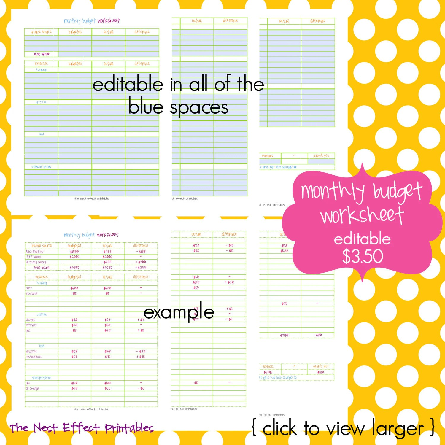 Monthly Budget Worksheet Editable Fillable By
