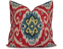 Iman Ikat Pillow Cover in Red, Blue, Navy and Yellow - Decorative Pillow - Throw Pillow -18x18 20x20 22x22 or Lumbar Sizes