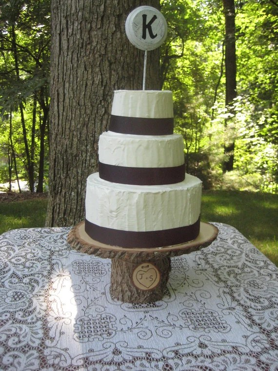 Rustic Wedding Cake Stand Personalized Wood by YourDivineAffair