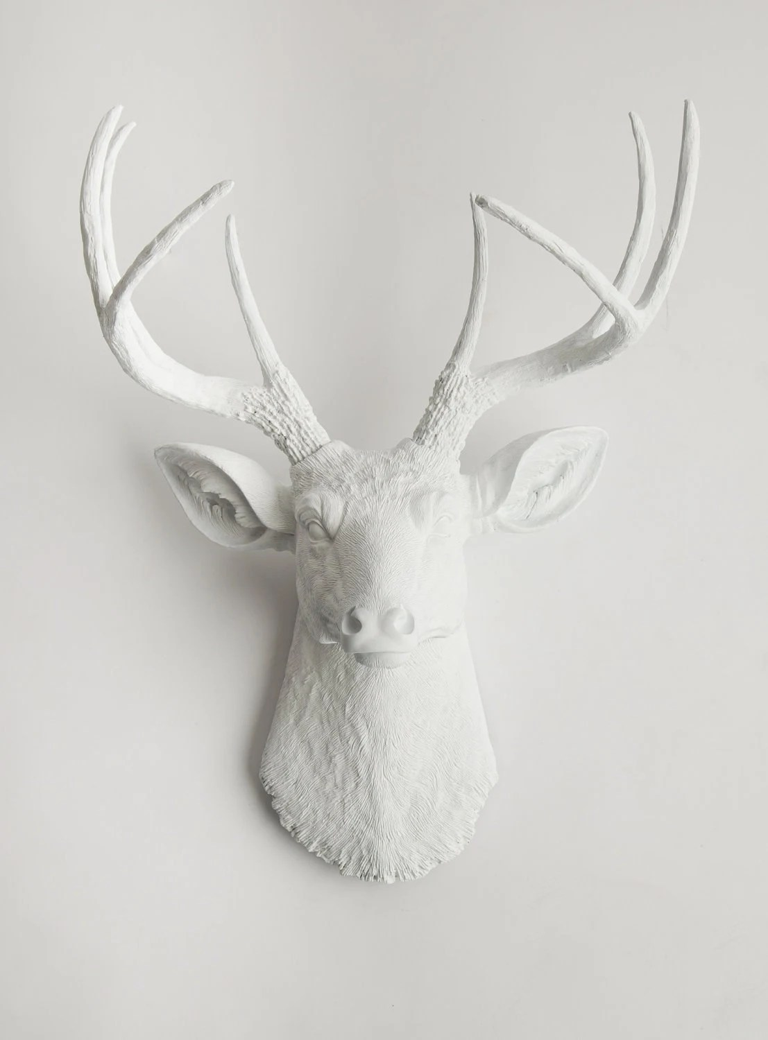 White Deer Head - The Templeton - White Resin Faux Deer Head- White Deer Antlers Mounted- Fake Head Wall Mount - WhiteFauxTaxidermy