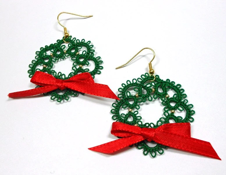 Christmas Wreath Tatted Earrings FREE SHIPPING
